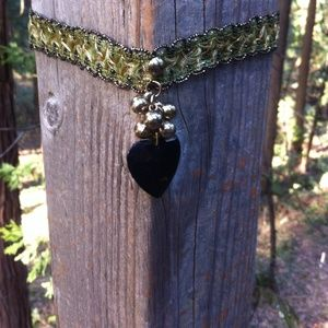 H P,Green, gold and black upcycle choker