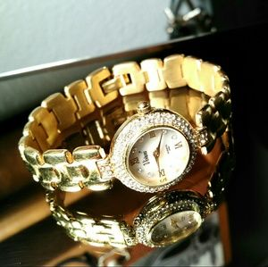 Viviana Accessories - Gold Tone Viviani Crystal Studded Watch