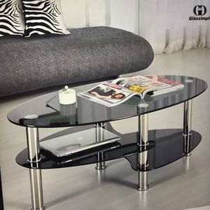 House of Magpie Other - Black glass-oval side coffee table