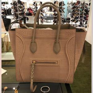 Celine Handbags - Celine Croc Stamp Medium Phantom Luggage