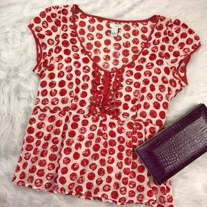 Anthropologie Tops - Odille Red Polka Dot Cotton Blouse