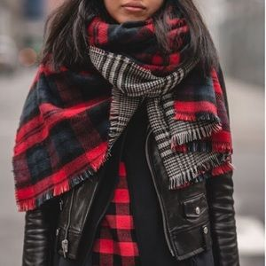 Accessories - New Red Plaid Reversible Blanket Scarf