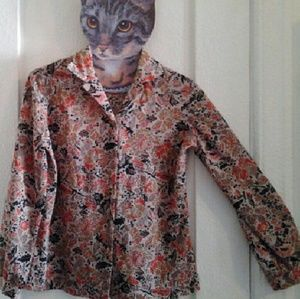 70s Vintage Geometric Floral Polyester Blouse