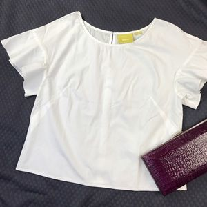 Anthropologie Tops - Maeve White Cotton Blouse
