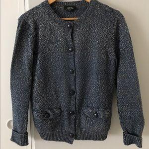 blue sweater cardigan by APC