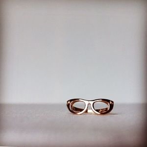 Rose Gold Plated Sterling Silver Glasses Ring