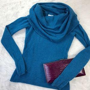 100% Cashmere Blue Cowl Neck Sweater