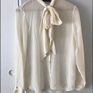 Cream blouse with cute neck tie in front