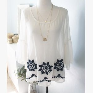 Cream Embroidered Peasant Blouse