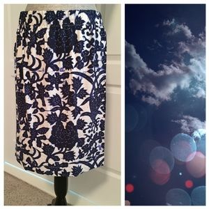 LOFT Dresses & Skirts - LOFT Blue and White Elastic Waist Pencil Skirt