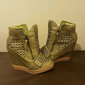 C. Label Shoes - C. Label Olive green wedges brand new