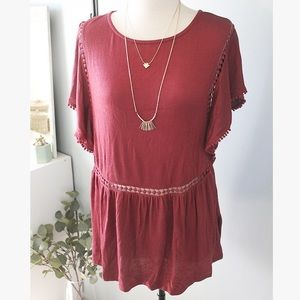 Burgundy Flutter Sleeve Blouse