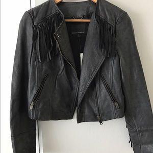 NWT - Moto Leather Jacket w Fringe - BR