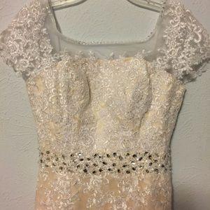 White lace sheath long dress size 10 New