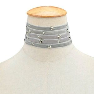Jewelry - Gray silver star 5 layer velvet choker necklace