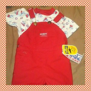 Osh Kosh Other - Osh Kosh Red short Overalls and tee