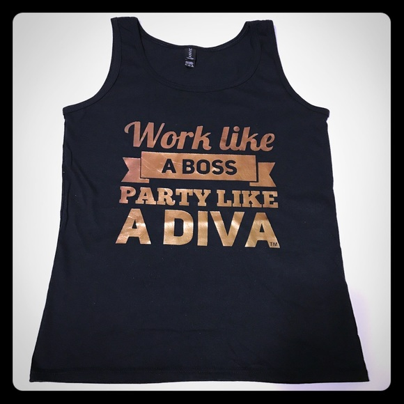 Work Like a Boss Graphic Tank in Rose Gold [TO-58]
