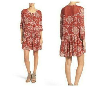 Hinge Tops - HINGE Print Crochet Lace Trim Dress Tunic XS