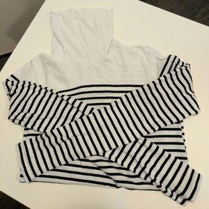 J. Crew Factory White and Black Striped Turtleneck