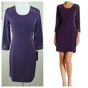 Andrew Marc Dresses & Skirts - Marc New York Purple Dress Lace Detail Sz 2