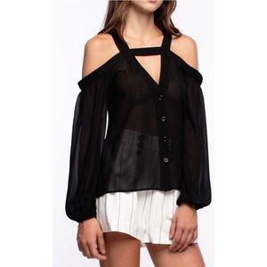 Line & Dot Tops - Ely Cold shoulder blouse