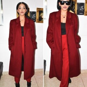 Jackets & Blazers - Red Burgundy Wool Long Coat - winter outfit ideas
