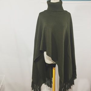 Jackets & Blazers - OLIVE GREEN PONCHO MADE IN ITALY