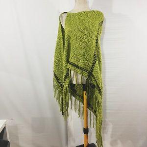 Jackets & Blazers - GREEN KNIT PONCHO WRAP