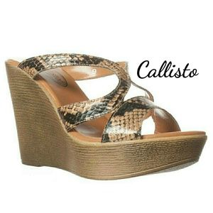 Callisto Shoes - Callisto Jamm Reptile Wedge Sandals