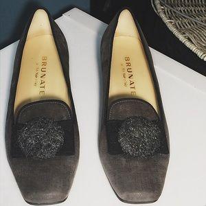 Brunate Shoes - BRUNATE GREY SQUARE TOE SLIP ON SHOE 39.5 US  8.5