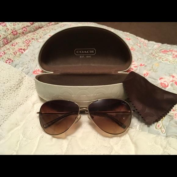 26d2d3d08870a Coach Accessories - Coach Aviator Juliana Brown Sunglasses