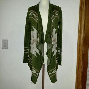 Belldini Sweaters - Green tribal drape sweater