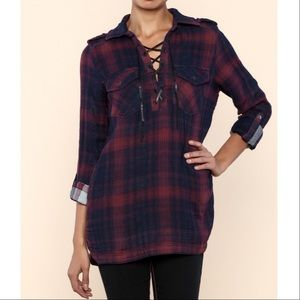 Blank NYC Tops - 🆕Blank NYC Checkmate Plaid Lace-Up Corset Flannel
