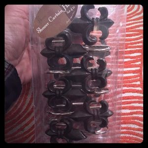 Aroma Home Other - Set of 12 Fleur de lis metal shower curtain hooks