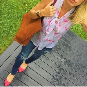 Goodnight Macaroon Tops - Goodnight Macaroon Flamingo blouse