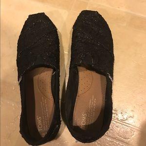 Toms black lace sparkle classic shoe