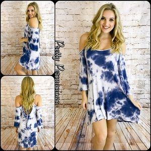 Pretty Persuasions Dresses & Skirts - SALE 🎉Tie Dyed Cold Shoulder Bell Sleeve Dress