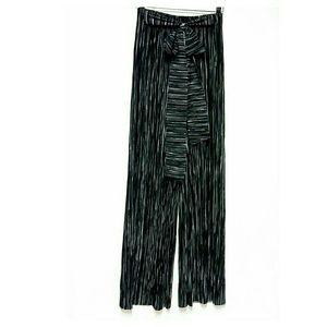 Ashley Blue Pants - Ashley Blue Black and White Palazzo Crinkle Pants