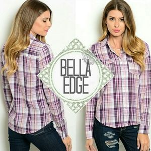 Bella Edge Tops - Purple pink plaid flannel print button down top