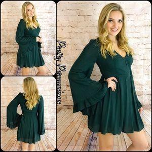 Pretty Persuasions Dresses & Skirts - NWT Green Long Bell Sleeve Ruffled Hem Dress