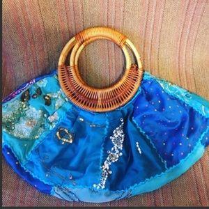 Blue Skies Woven Handbag
