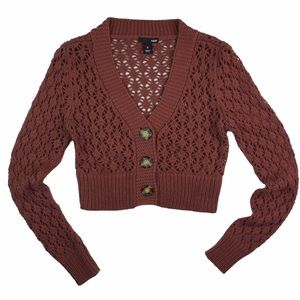 H&M Sweaters - H&M Rust Pointelle Cropped Shrug Cardigan Sweater