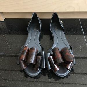 Melissa Shoes - Melissa Black and tortoise Peep toe flats