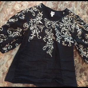 Anthropologie Tops - Stunning Anthropologie black embroidered blouse
