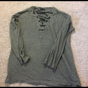 Green Zara lace up top