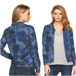 Juicy Couture Jackets & Blazers - JUICY COUTURE DENIM FLORAL CAMO BOMBER JACKET