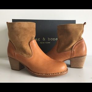RAG & BONE TAN LEATHER & SUEDE ANKLE BOOTS, SZ 37