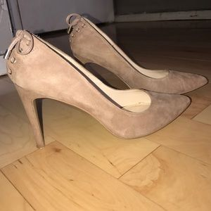 Nine West Nude Suede Heels