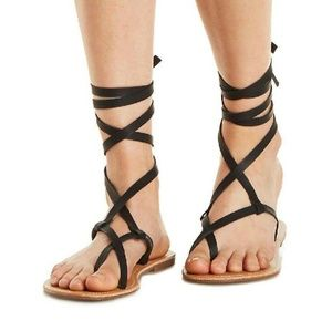 Shoes - Strappy Ankle Tie Up Sandals