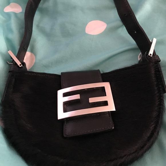 8a1706421d33 ... low price fendi black furry mini croissant baguette bag 2697e 80016